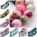 4 6 8 10 12mm Jade Semi precious Stone Camouflage Charm Beads Bulk 16 Dyed Natural