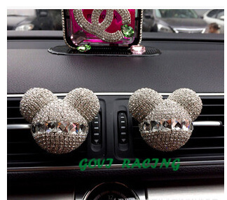 2pcs/lots crystal car air freshener perfume auto car mickey perfumes 100 original women parfum activated charcoal car-styling(China (Mainland))