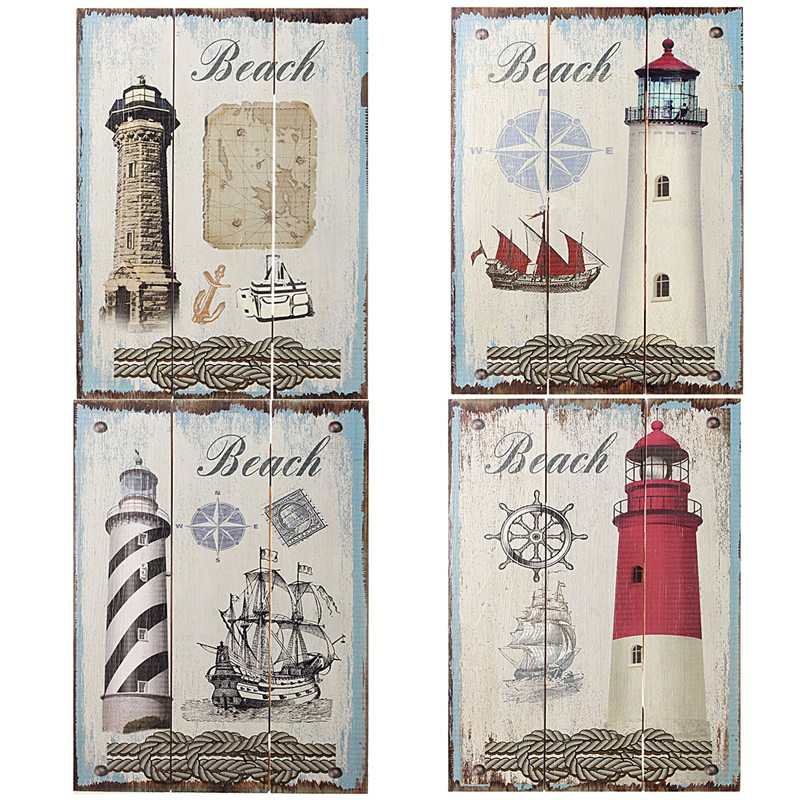 Newest Mediterranean Style Rustic Nautical Lighthouse Pattern Wood ...