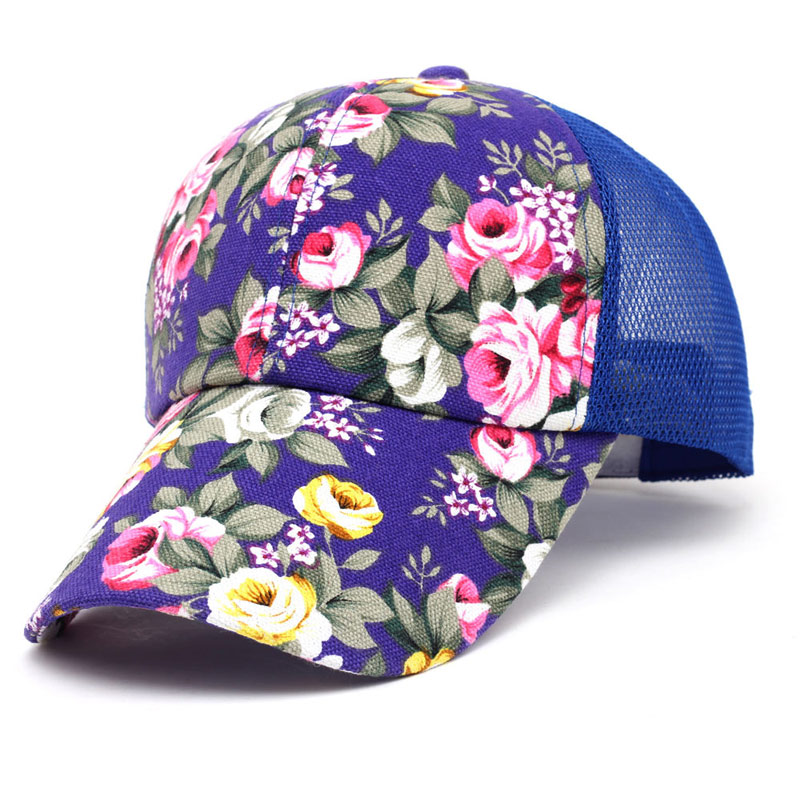 Summer Adjustable Mesh Hats Women's Floral Printed Baseball Cap with Nylon Net Back, Red Blue Hot Pink(China (Mainland))