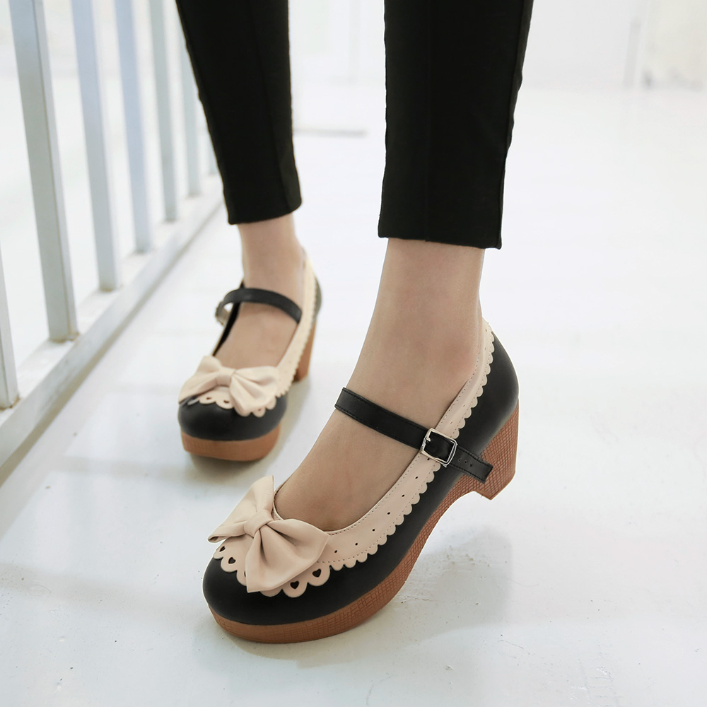 Free PP Womens Girls Bowknot Mid Heel Lolita Mary Janes Vintage Retro Shoes Pump C-33(China (Mainland))