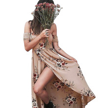 Buy Floral Print Women Dresses Summer Lady Sexy Shoulder Boho Maxi Beach Sundress Womens Casual Irregular Long Party Dresses #JO for $13.38 in AliExpress store