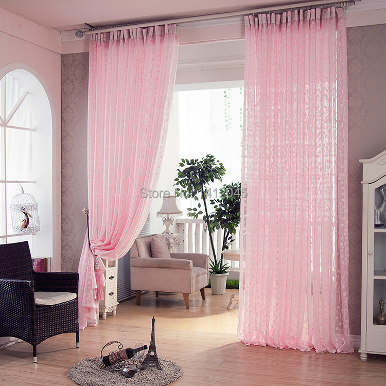 New High Quality Pink Modern Window Curtains Tulle Curtains For Living Room The Bedroom Sheer