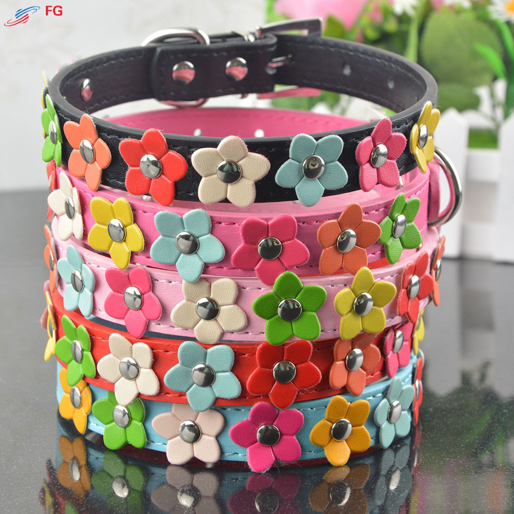 Fashion 5Colors 4 Sizes Leather Puppy Pet Dog Collar Cat Neck Strap Necklace with Studded Sweet Flower(China (Mainland))