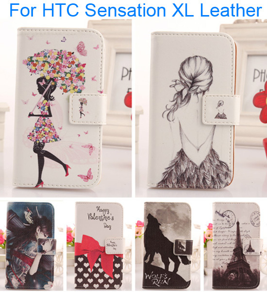 AIYINGE Cartoon Pattern Cell Phone Protector Case Flip PU Leather Case For HTC Sensation XL With Card Slot Wallet Bag(China (Mainland))