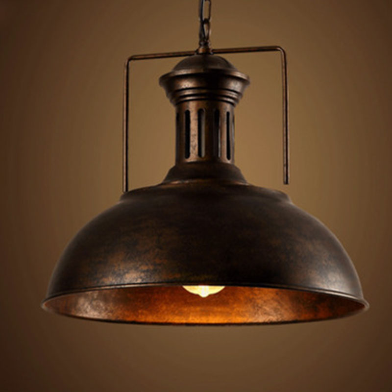Edison vintage industrial lamp shade chain pendant light for How to make an industrial lamp