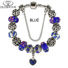 Rhinestone Love Heart Charm Bracelet For Women Jewelry  Fine Glass Beads Bracelet Bangle With Beautiful Gift Bag Packing(China (Mainland))