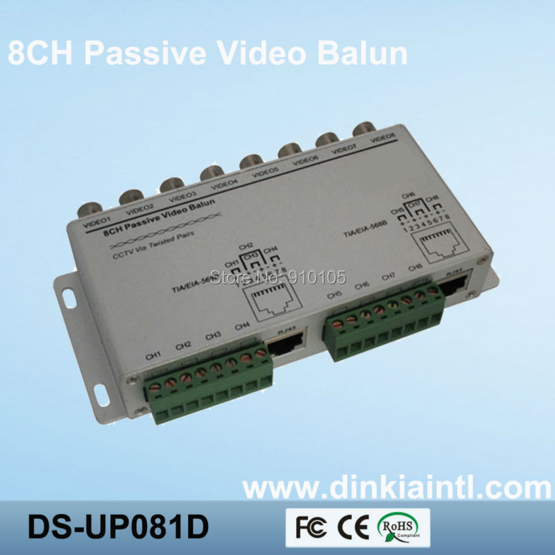 Promotion Twisted Pair Balun BNC 8 Channel Video Tranceiver via CAT5 UTP Coaxial Cable,3 Years Warranty, DS-UP081D(Hong Kong)
