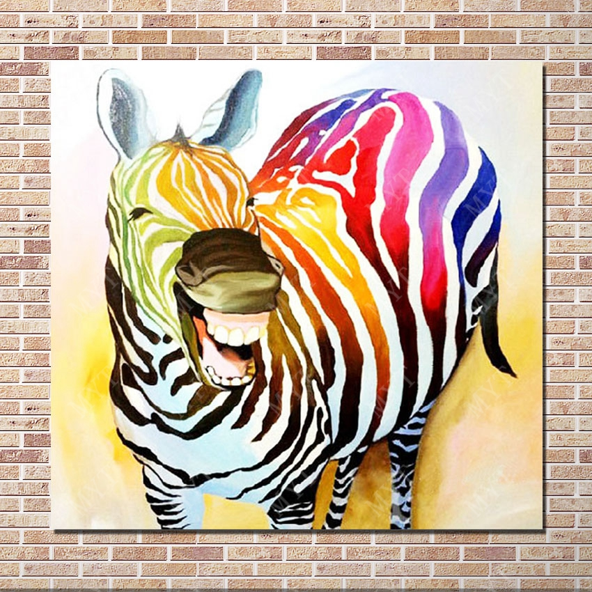 Colored animal canvas paintings free shipping premium gift promotional funny faces colored smile picture(China (Mainland))
