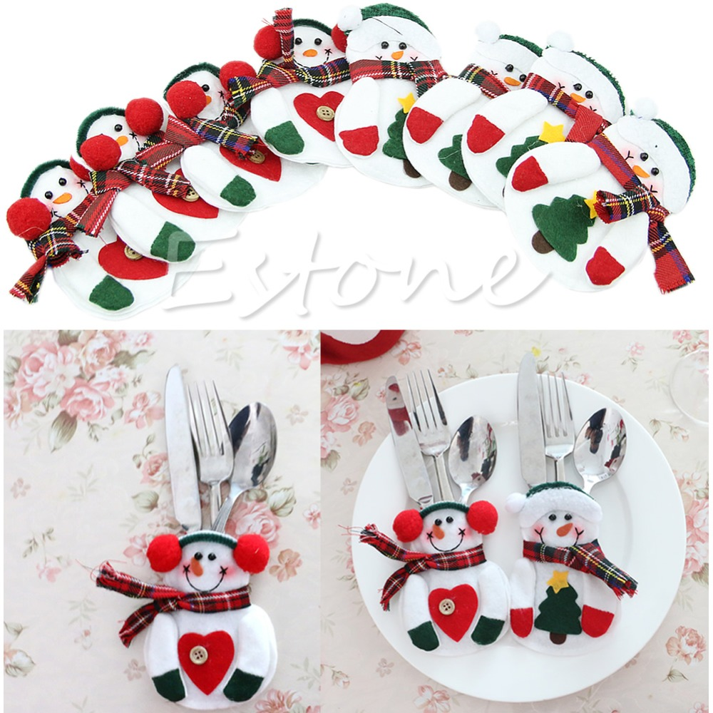 A81 2016   newest  8Pcs Holiday Party Christmas Home Decor Santa Snowman Silverware Holder Pocket free  shipping