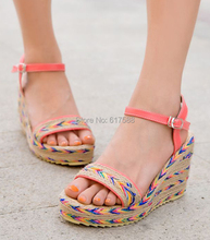 Bohemian National Trend Wedges Platform Thick Crust Muffin Casual Straw Sandals High-heeled Open-toed Shoes Students Sandals(China (Mainland))