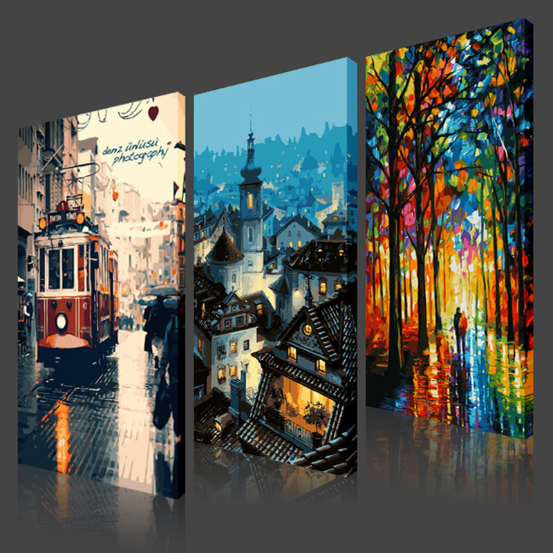 40x80cm 50x100cm City Impress Scenery Frameless Picture Painting By Numbers DIY Digital Oil Painting Canvas Home Decor HD0350(China (Mainland))