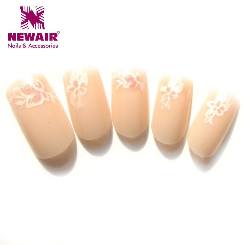 Beautiful full cover french nail tips natural acrylic false fingernails glister fake nails 24 pcs x 3packs manicure with gel(China (Mainland))