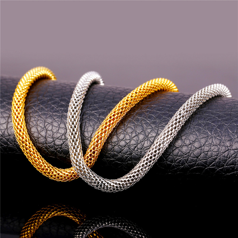 Mesh Chain Necklace Cool Men's Jewelry Wholesale 5MM 55CM / 66M 316L Stainless Steel / 18K Gold Plated Round Necklace GN1605(China (Mainland))