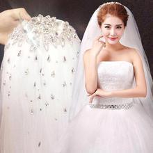 Real photo High Quality Rhinestone White Wedding Veil Short Bridal Veil 1.5 Meters Crystal Beaded Veils Wedding Accessories(China (Mainland))
