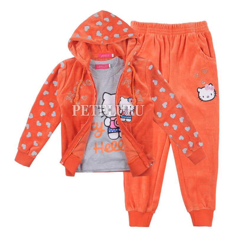 winter kitty cat children velvet thick long clothing baby boys & girls dot sport leisure suit kids hoody+tees+pants set - petelulu store