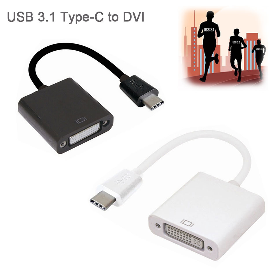 New Arrival USB-C USB 3.1 Type C Male to DVI Female 1080P Display Monitor Adapter Convertor Connector Cable for 2015 Macbook(China (Mainland))