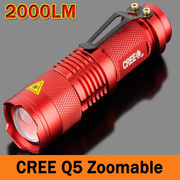 Mini LED Flashlight Zoomable Torch 7W 2000LM CREE Q5 LED Lanterna Torche Adjustable Focus 3 Modes Flash Light Lamp ZK93(China (Mainland))