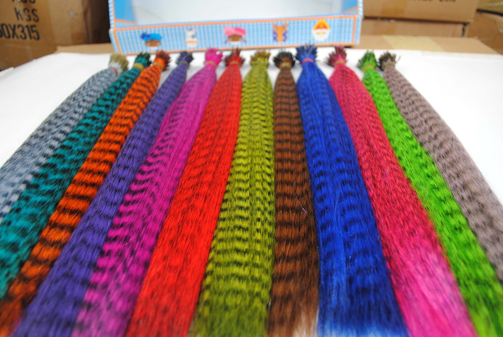 Hot 12 Colors Wholesale Retail 320pcs/pack 16 inch Length thin Grizzly Colors synthetic Hair extensions CB075(China (Mainland))