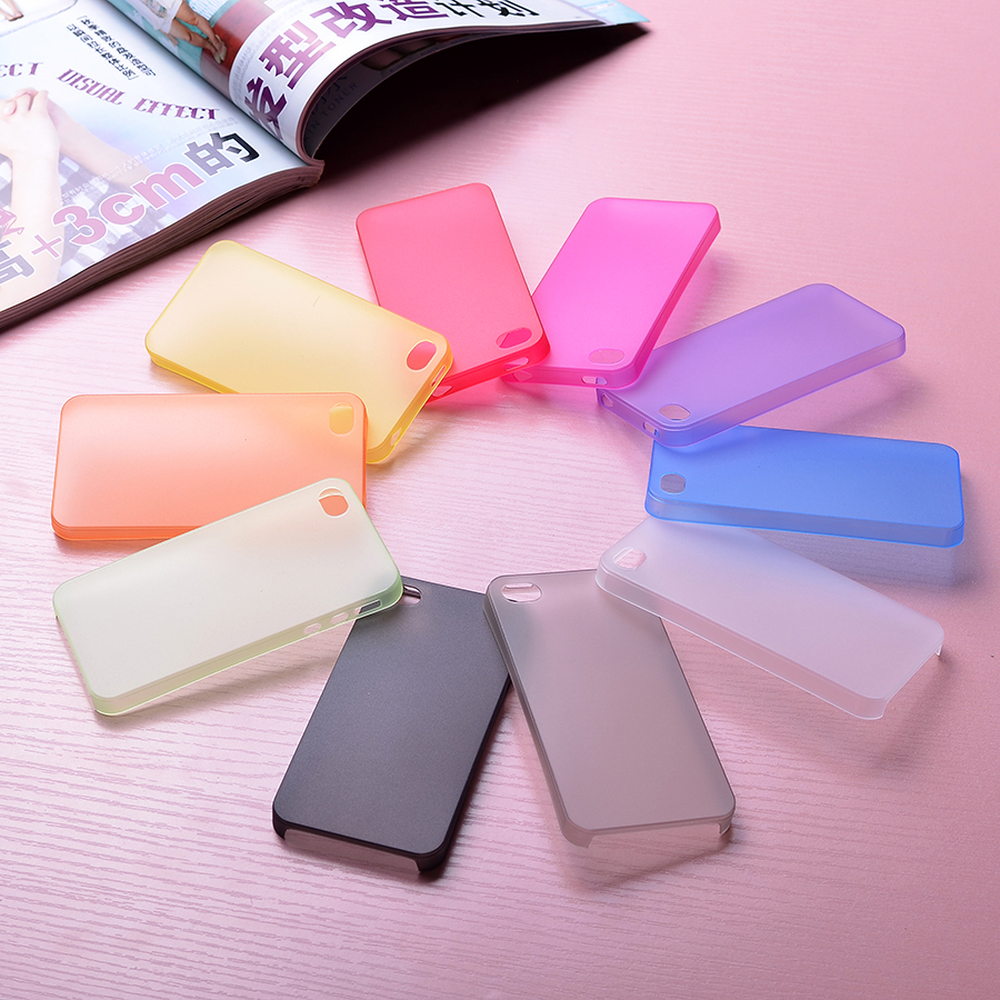 1 0.3mm Ultra thin Colorful Transparent Plastic Material Case Cover iPhone 4 4S Cell Phone Shell - Xinghai store