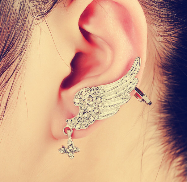 wedding accessory 2016 Fashion Gold silver Butterfly wings cuff Clip Earrings For Women Crystal Punk Ear Cuff Earring 009(China (Mainland))