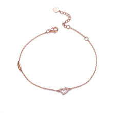 2015 new stylish and elegant 18K rose gold diamond bracelet female romantic heart-shaped bracelet gold bracelet Valentine's Day(China (Mainland))