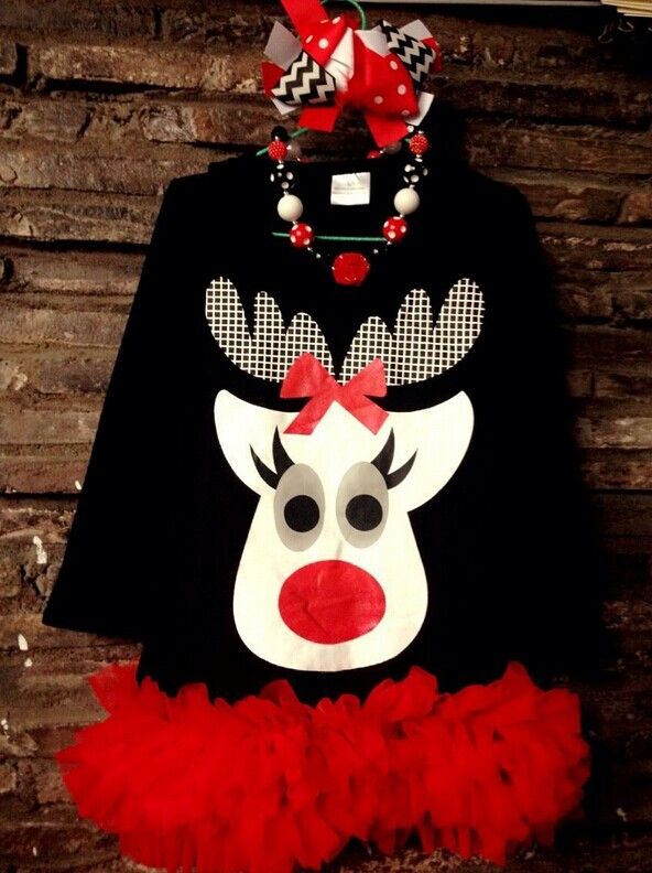kids reindeer dress girls Christmas balck and red dress Christmas dress with matching necklace and bow<br><br>Aliexpress