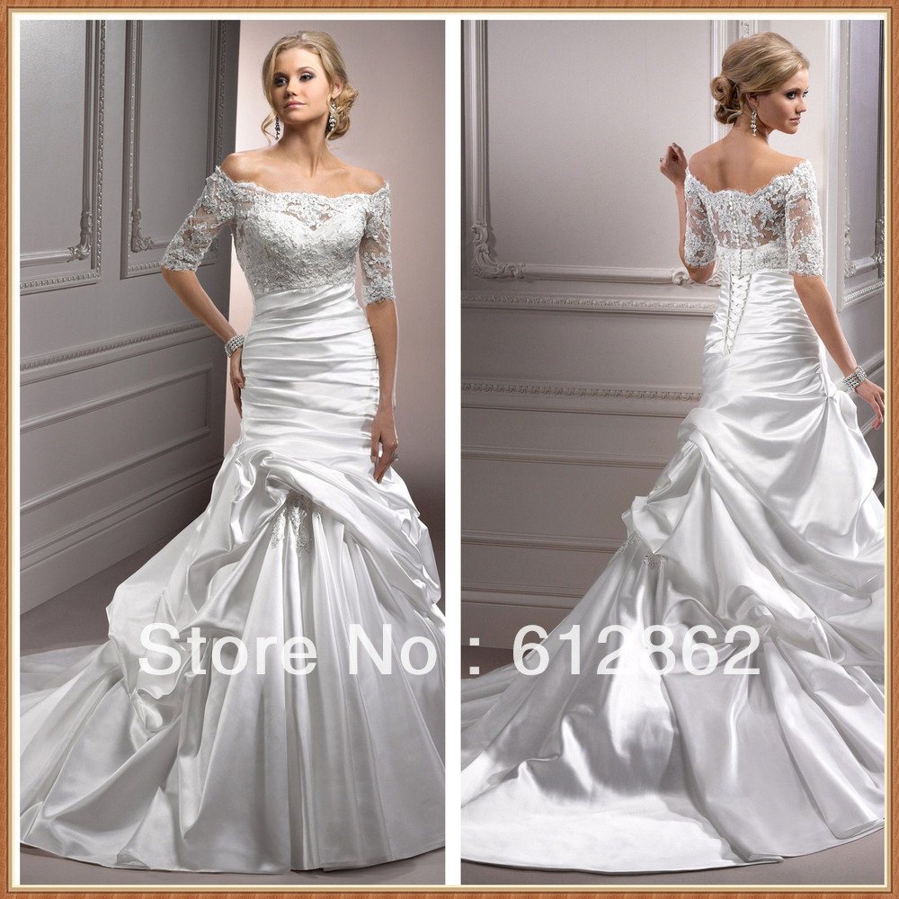 Elegant strapless satin dress with detachable off shoulder for Strapless wedding dresses with long trains