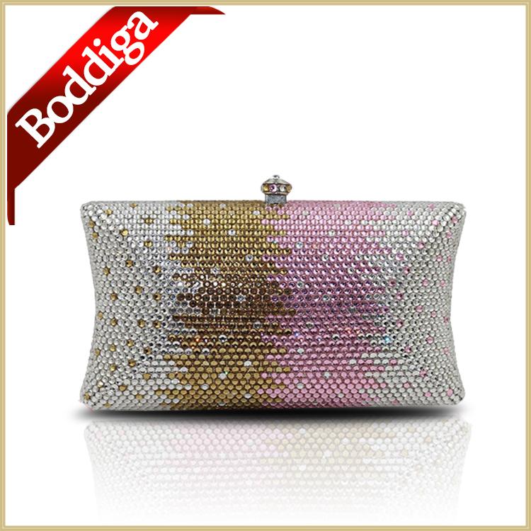 DHL FREE Ladies Full Diamond crystal clutch evening bags Acrylic purse Magazine Clutches Purse Women box clutch#3016 sliver/pink