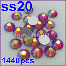 hot deals discount new SS20 1440pcs Lt Siam AB silver plated Flat Back Non Hotfix sticker glue on rhinestone(China (Mainland))