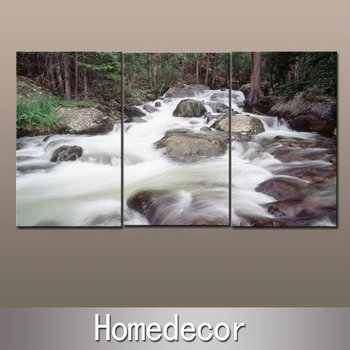 3pcs/set beauty of River Stone modern wall canvas printing painting prints artwork picture on canvas no frame waterproof