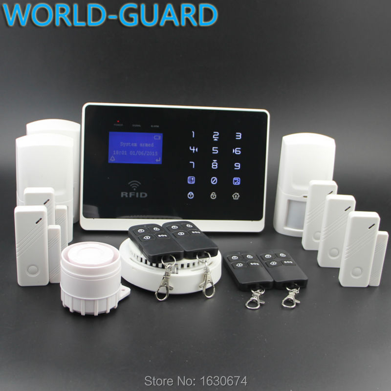 Android Apps support GSM Security Alarm System detector remote Control by SMS&Calling,433mhz nice design and reliable function