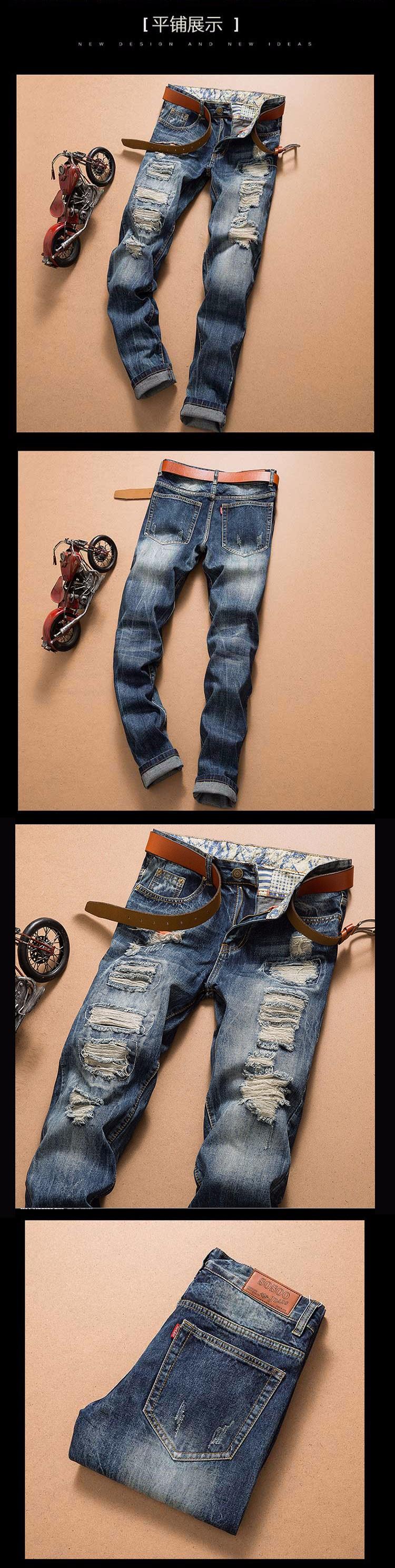 Скидки на Горячая 2016 Новый дизайнер известный бренд высококлассные хлопок джинсы для мужчин разорвал штаны, европейский и Американский стиль джинсы мужские байкер брюк