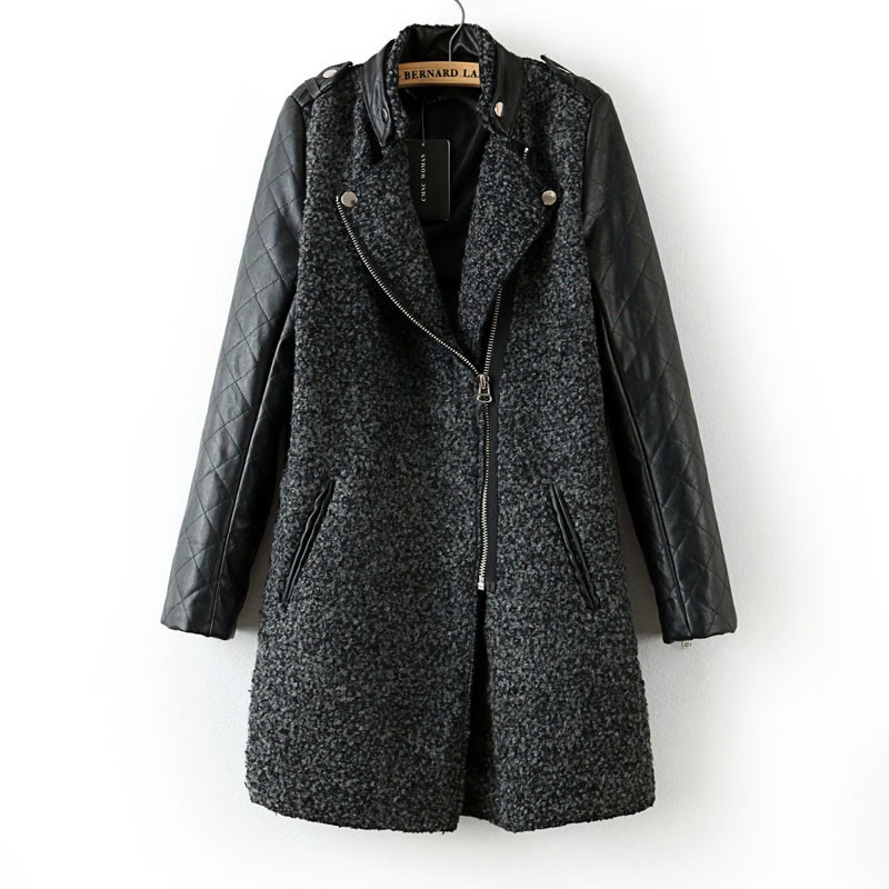 Lamb wool stichting long coat 2015 New Wool coat woman jacket autumn overcoat Woollen coat slim trench leather sleeves black(China (Mainland))