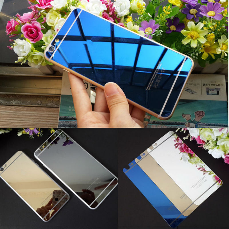 2pic/lot Front+Back Tempered Glass For iPhone 4s 5 5s 6 6plus Full Cover Screen Protector Mirror Effect Color protective film(China (Mainland))