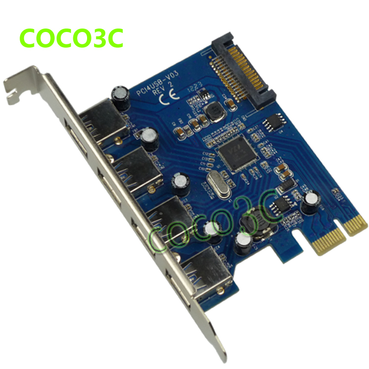 4 USB3.0 to PCIe Card , VIA chipset 4 port USB3.0 extender cards,PCI Express to USB3.0 adapter card<br><br>Aliexpress