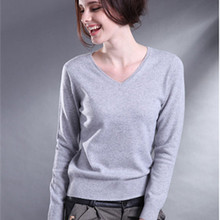 Free Shipping Fashion Casual Women's Clothing Female Solid Color V-Neck Long Sleeved Knitted Sweater Women Soft Wool Pullovers(China (Mainland))