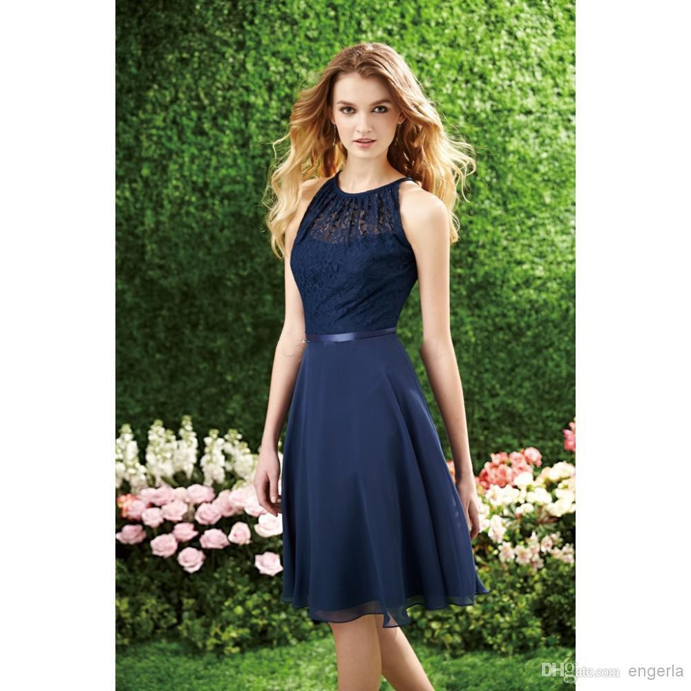 Short Navy Blue Bridesmaid Dress Halter High Neck Cutout
