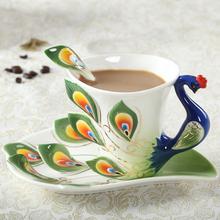 Peacock Coffee Cup Ceramic Creative Mug Bone China 3D Color Enamel Porcelain Saucer Spoon Coffee Tea Sets for friend Gift(China (Mainland))