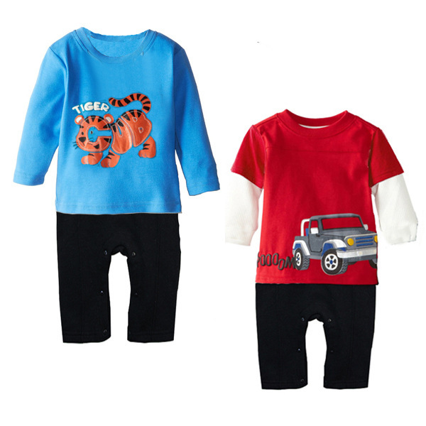 New fashion mixed colors Romper climb clothes baby tiger car long sleeve Romper(China (Mainland))