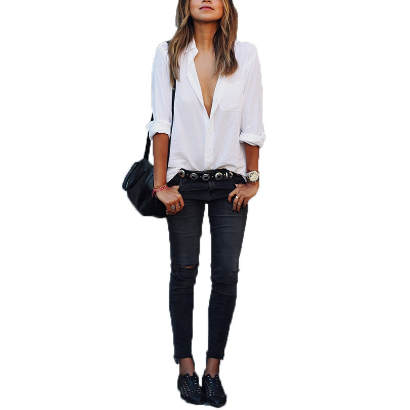 2016 Hot Sale Women Blusas Lapel Boyfriend Style Long Sleeve White Blouses Shirt Ladies Casual Leisure Solid Tops High Quality(China (Mainland))