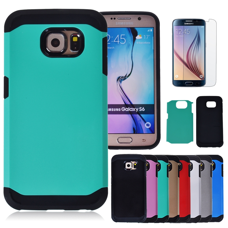 For Samsung Galaxy S6 G9200 Tough Slim Armor Case Hybrid Hard PC Back Cover Dual Layer Shockproof Phone Cases +Screen Protector(China (Mainland))