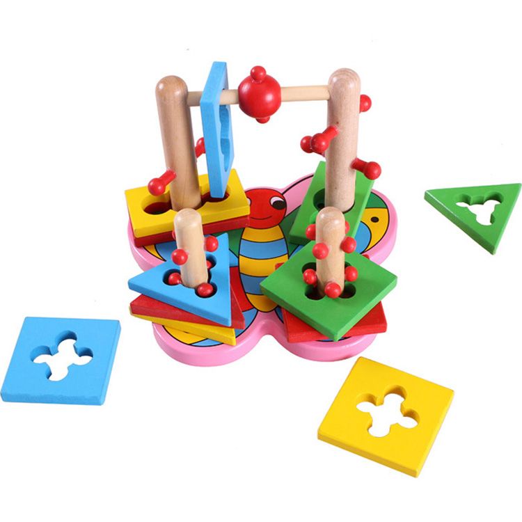 Baby Toys Wisdom Four Column Building Blocks Wooden Toys Child Geometric Cognitive Educational Christmas Gift WD047(China (Mainland))
