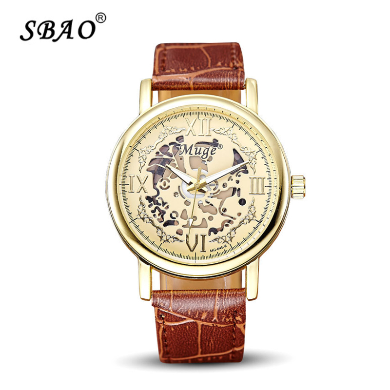 SBAO men hollowed-out watch Roman belt scale fashionable restore ancient ways golden dial men quartz watches MG-045-5(China (Mainland))