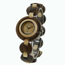 Color mezclado mujeres viste el reloj Bewell mujer la muchacha Luscious pulsera moda reloj de madera pulsera ajustable reloj de madera