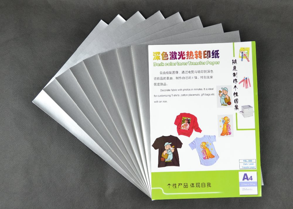 (A4*10 PCS) Metallic Dark Color Laser transfer paper. Metallic on the surface,high stretch and very washable TSL-300(China (Mainland))