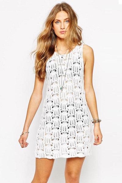 Hot Sale Summer Beach Dress Pure white crochet sexy tank dresses hollow out loose beach vetidos sleeveless mini dress 41175(China (Mainland))