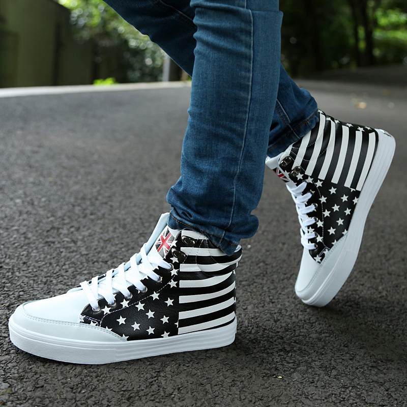 Top quality men high top sneakers flag print flat shoes casual leather shoes cool guy hip