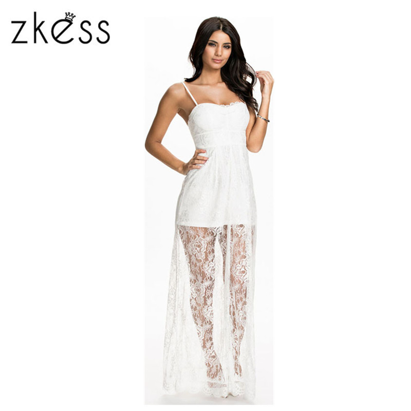 ZKESS White Sheer Lace Overlay Long Slip Dress summer maxi summer dress vestidos de festa dress unice lai robe long dress 60237(China (Mainland))
