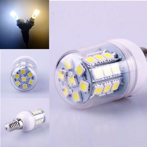 Warm Pure White E14 4W 30 LEDs 5050 SMD Cover Corn Spotlight Light Lamp Bulb # 47046 - BeFocus store